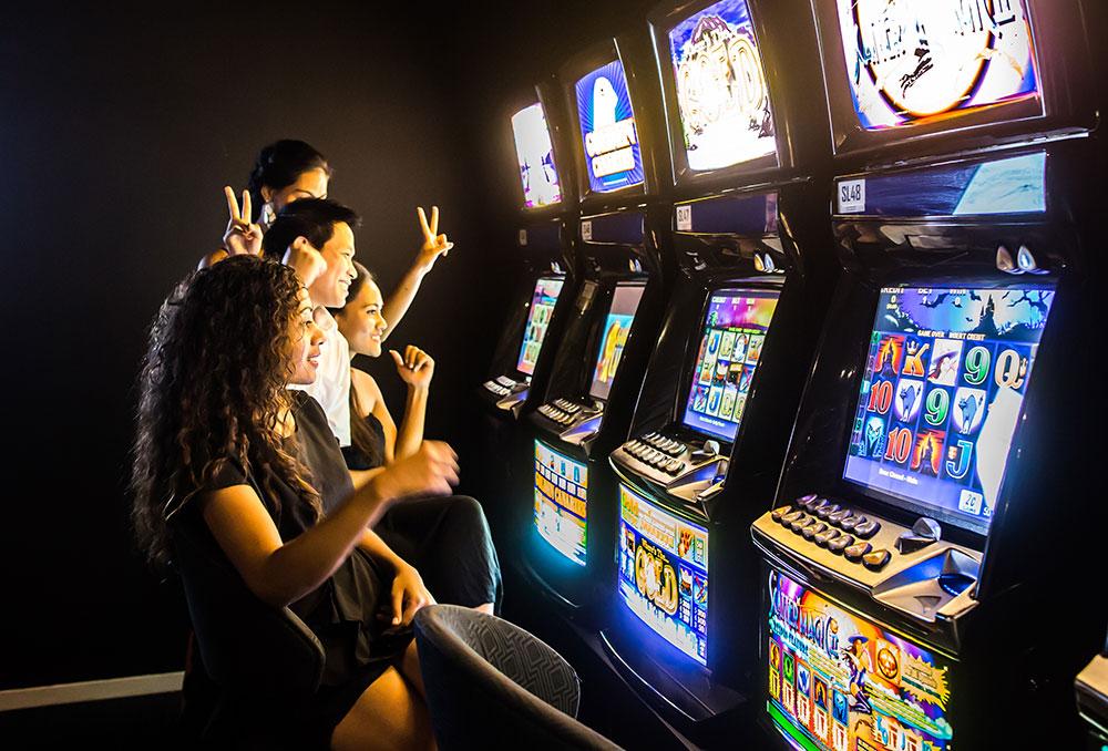 people wining in slot machine